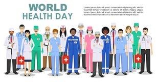 Día de salud de mundo Concepto MÉDICO Ejemplo detallado del doctor y de las enfermeras en estilo plano aislados en el fondo blanc libre illustration