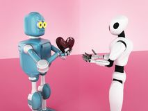 Día de San Valentín, amor, robot, 3d rendir libre illustration