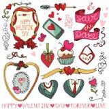 Día de San Valentín, casandose el marco, elementos de la decoración Fotografía de archivo