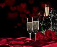 Día de San Valentín con champán y rosas imagen de archivo