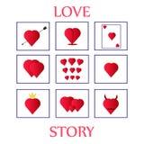 Día de San Valentín de nueve tarjetas stock de ilustración