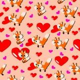 Día de San Valentín feliz, amante del Fox y corazón con el fondo rosado stock de ilustración