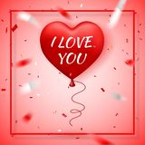 Día de San Valentín feliz, globo rojo en la forma de corazón con imagen del vector de la cinta stock de ilustración