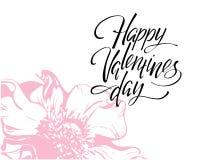 Día de San Valentín feliz, letras escritas mano Día de San Valentín romántico de la inscripción de la tarjeta de la caligrafía fotografía de archivo libre de regalías