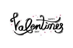 Día de San Valentín feliz, tarjeta de felicitación de la tipografía con la caligrafía manuscrita, la decoración, la celebración y stock de ilustración