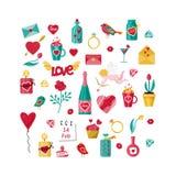 Día de San Valentín fijó con los elementos del amor para las tarjetas de felicitación para día de San Valentín ilustración del vector