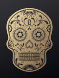 Día de Sugar Skull del ejemplo de oro muerto Foto de archivo libre de regalías