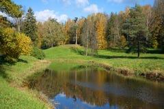Día de Sunny October en el río de Slavyanka en el parque de Pavlovsk St Petersburg Fotos de archivo libres de regalías