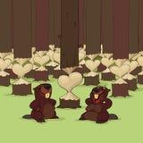 Día de tarjeta del día de San Valentín de castores stock de ilustración