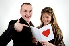 Día de tarjeta del día de San Valentín de la tarjeta Imagenes de archivo
