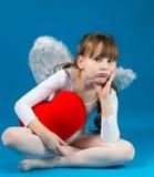 Día de tarjeta del día de San Valentín del ángel de la muchacha Imágenes de archivo libres de regalías