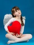 Día de tarjeta del día de San Valentín del ángel de la muchacha Fotos de archivo