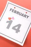 Día de tarjeta del día de San Valentín del calendario Fotografía de archivo libre de regalías