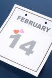 Día de tarjeta del día de San Valentín del calendario Imagen de archivo libre de regalías