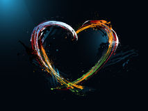 día de tarjeta del día de San Valentín del corazón, pintada ilustración del vector