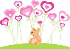 Día de tarjeta del día de San Valentín del santo - peluche y corazones Fotografía de archivo