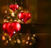 Día de tarjeta del día de San Valentín elegante del rojo y del oro Flayer Fotografía de archivo