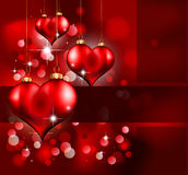 Día de tarjeta del día de San Valentín elegante del rojo y del oro Flayer Foto de archivo