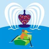 Día de tarjeta del día de San Valentín en el barco Foto de archivo
