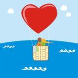 Día de tarjeta del día de San Valentín en el globo Imágenes de archivo libres de regalías