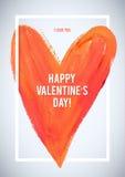 Día de tarjeta del día de San Valentín feliz Corazón del movimiento y tarjeta de felicitación blanca de la frontera Foto de archivo