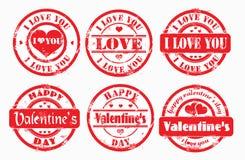 Día de tarjeta del día de San Valentín feliz del sello y te quiero. Imagen de archivo libre de regalías