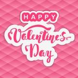 Día de tarjeta del día de San Valentín feliz Letras de la mano Caligrafía hecha a mano, vector Fotografía de archivo libre de regalías