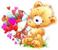 Día de tarjeta del día de San Valentín Oso de peluche divertido y corazón rojo Imágenes de archivo libres de regalías
