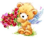 Día de tarjeta del día de San Valentín Oso de peluche divertido y corazón rojo Foto de archivo