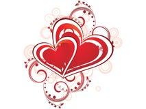 día de tarjeta del día de San Valentín romántico de los corazones Foto de archivo