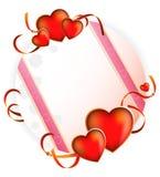Día de tarjeta del día de San Valentín. Tarjeta de felicitación brillante Fotos de archivo libres de regalías