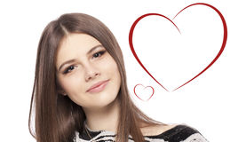 Día de tarjetas del día de San Valentín. Adolescente hermoso de la muchacha con el corazón Foto de archivo