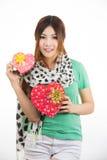 Día de tarjetas del día de San Valentín asiático de la mujer Imagenes de archivo
