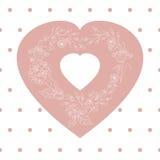 Día de tarjetas del día de San Valentín, casandose el ejemplo con el corazón de las flores Imagen de archivo