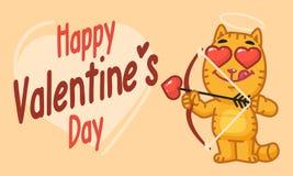 Día de tarjetas del día de San Valentín Cat Shoots From Bow Fotografía de archivo libre de regalías