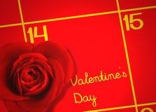Día de tarjetas del día de San Valentín con el calendario y el amor Rose Background Fotografía de archivo libre de regalías