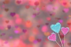 Día de tarjetas del día de San Valentín con los corazones, el azul y el rosa Imágenes de archivo libres de regalías
