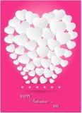 Día de tarjetas del día de San Valentín de globos del corazón del Libro Blanco en fondo rosado Foto de archivo libre de regalías