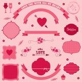 Día de tarjetas del día de San Valentín de las banderas y de los iconos del vector. Imagen de archivo libre de regalías