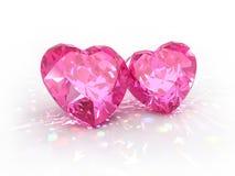 Día de tarjetas del día de San Valentín de los corazones de la joya del diamante Fotografía de archivo