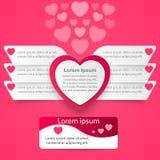 Día de tarjetas del día de San Valentín de los corazones del Libro Blanco rojo y 3D ejemplo digital abstracto Infographic Fotografía de archivo