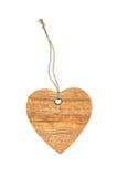 Día de tarjetas del día de San Valentín de madera de la muestra del corazón con el nudo de la cuerda aislado Foto de archivo libre de regalías