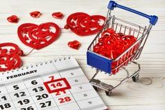 Día de tarjetas del día de San Valentín del calendario Foto de archivo libre de regalías