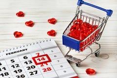 Día de tarjetas del día de San Valentín del calendario Imagen de archivo libre de regalías