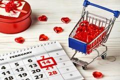 Día de tarjetas del día de San Valentín del calendario Fotos de archivo libres de regalías