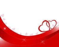 Día de tarjetas del día de San Valentín. Dos corazones de papel entrelazados. Imagen de archivo