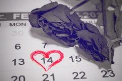 Día de tarjetas del día de San Valentín, el 14 de febrero en la página del calendario y las flores Imagen de archivo