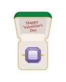 Día de tarjetas del día de San Valentín feliz Anillo de la amatista en caja Joyería en un blanco Foto de archivo libre de regalías