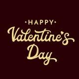 Día de tarjetas del día de San Valentín feliz Brillo texturizado poniendo letras a la inscripción en fondo oscuro Texto para el d Foto de archivo