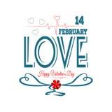 Día de tarjetas del día de San Valentín feliz Catorce febreros Imagen de archivo